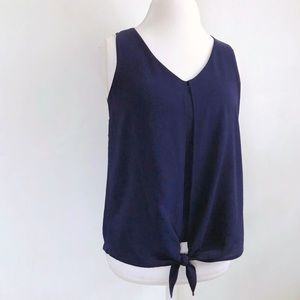 crepe tie front sleeveless blouse